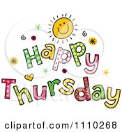 Clipart Colorful Sketched Happy Thursday Text Royalty Free Vector Illustration