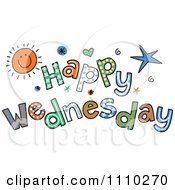 Clipart Colorful Sketched Happy Wednesday Text Royalty Free Vector Illustration