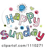 Clipart Colorful Sketched Happy Sunday Text Royalty Free Vector Illustration