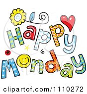 Clipart Colorful Sketched Happy Monday Text Royalty Free Vector Illustration