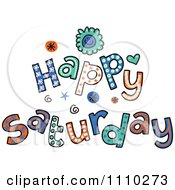Colorful Sketched Happy Saturday Text
