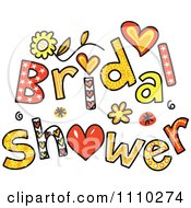 Clipart Colorful Sketched Bridal Shower Text 2 Royalty Free Vector Illustration by Prawny