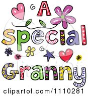 Clipart Colorful Sketched A Special Granny Text Royalty Free Vector Illustration