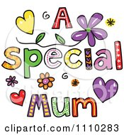Clipart Colorful Sketched A Special Mum Text Royalty Free Vector Illustration by Prawny