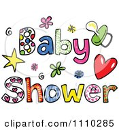 Clipart Colorful Sketched Baby Shower Text Royalty Free Vector Illustration