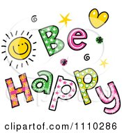 Clipart Colorful Sketched Be Happy Text Royalty Free Vector Illustration