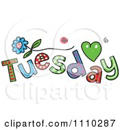 Clipart Colorful Sketched Tuesday Text Royalty Free Vector Illustration