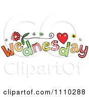 Clipart Colorful Sketched Wednesday Text Royalty Free Vector Illustration