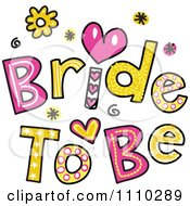 Clipart Colorful Sketched Bride To Be Text Royalty Free Vector Illustration by Prawny