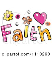Clipart Colorful Sketched Faith Text Royalty Free Vector Illustration