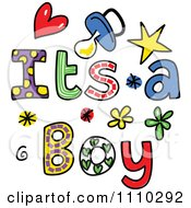 Colorful Sketched Its A Boy Text