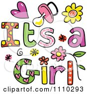 Colorful Sketched Its A Girl Text