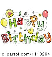 Clipart Colorful Sketched Happy Birthday Text 2 Royalty Free Vector Illustration