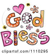 Clipart Colorful Sketched God Bless Text 1 Royalty Free Vector Illustration