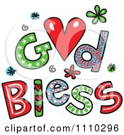 Clipart Colorful Sketched God Bless Text 2 Royalty Free Vector Illustration