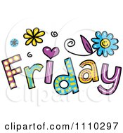 Clipart Colorful Sketched Friday Text Royalty Free Vector Illustration
