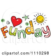 Clipart Colorful Sketched Funday Text Royalty Free Vector Illustration