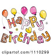 Clipart Colorful Sketched Happy Birthday Text 1 Royalty Free Vector Illustration