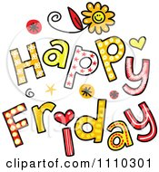 Clipart Colorful Sketched Happy Friday Text Royalty Free Vector Illustration