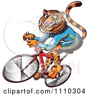 Clipart Athletic Tiger Cycling On A Bike Royalty Free Vector Illustration