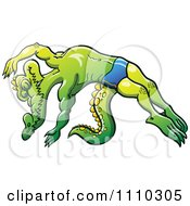 Clipart Athletic Swimmer Alligator Diving Royalty Free Vector Illustration