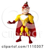Clipart 3d Super Hero Man In A Red And Yellow Costume Presenting Royalty Free CGI Illustration