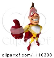 Clipart 3d Super Hero Man In A Red And Yellow Costume Holding A Thumb Up 2 Royalty Free CGI Illustration