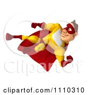 Clipart 3d Super Hero Man In A Red And Yellow Costume Side Kicking Royalty Free CGI Illustration