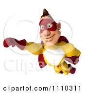 Clipart 3d Super Hero Man In A Red And Yellow Costume In Flight 1 Royalty Free CGI Illustration