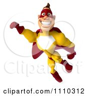 Clipart 3d Super Hero Man In A Red And Yellow Costume In Flight 2 Royalty Free CGI Illustration