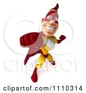 Clipart 3d Super Hero Man In A Red And Yellow Costume Punching Royalty Free CGI Illustration