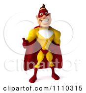 Clipart 3d Super Hero Man In A Red And Yellow Costume Holding A Thumb Up 1 Royalty Free CGI Illustration