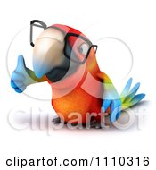 Clipart 3d Macaw Parrot Wearing Glasses And Holding A Thumb Up 2 Royalty Free CGI Illustration