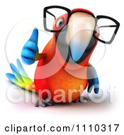 Clipart 3d Macaw Parrot Wearing Glasses And Holding A Thumb Up 1 Royalty Free CGI Illustration
