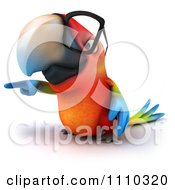 Clipart 3d Macaw Parrot Wearing Glasses And Pointing Royalty Free CGI Illustration