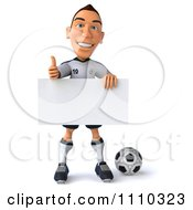 Clipart 3d White German Soccer Player Holding A Sign And Thumb Up 2 Royalty Free CGI Illustration