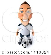 Clipart 3d White German Soccer Player 3 Royalty Free CGI Illustration
