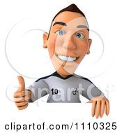 Clipart 3d White German Soccer Player Holding A Sign And Thumb Up 1 Royalty Free CGI Illustration