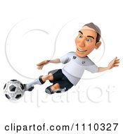 Clipart 3d White German Soccer Player Kicking 2 Royalty Free CGI Illustration by Julos