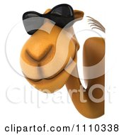 Clipart 3d Camel Wearing Sunglasses By A Sign 2 Royalty Free CGI Illustration