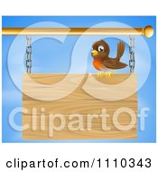 Clipart Happy Robin Bird Perched On A Wood Sign Against The Sky Royalty Free Vector Illustration