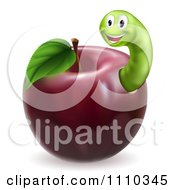 Clipart Happy Green Worm In A Red Apple Royalty Free Vector Illustration by AtStockIllustration