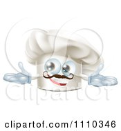 Happy Chef Hat Mascot With A Mustache Holding Out His Arms