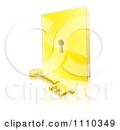 3d Golden Padlock Book And Skeleton Key With A Reflection