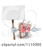 Clipart 3d Desk Calendar Presenting And Holding A Sign Royalty Free Vector Illustration