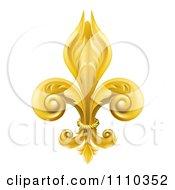 Clipart 3d Ornate Golden Fleur De Lis Lily Symbol Royalty Free Vector Illustration