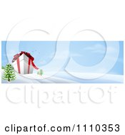 Clipart Banner Of A 3d Giant Christmas Gift Box In A Snowy Landscape Royalty Free Vector Illustration