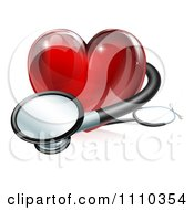 Clipart 3d Red Medical Heart With A Stethoscope Royalty Free Vector Illustration by AtStockIllustration