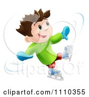 Clipart 3d Happy Boy Dancing And Having Fun While Ice Skating Royalty Free Vector Illustration