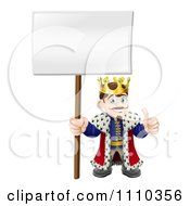 Happy King Holding A Thumb Up And A Sign